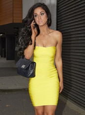 dress,bqueen,fashion,girl,lady,chic,sexy,yellow,elegant,bandage,party,clubwear,bandage dress,evening dress