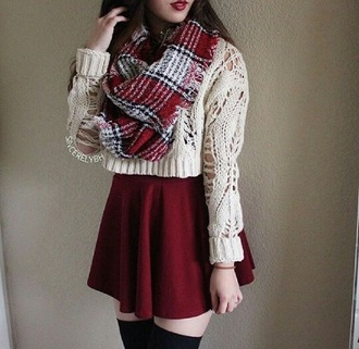 sweater fall outfits plaid skirt scarf fall sweater socks