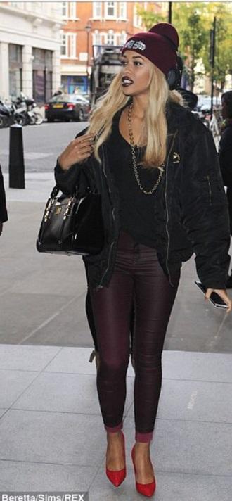 hat stylish maroon/burgundy jacket black bomber jacket fashion