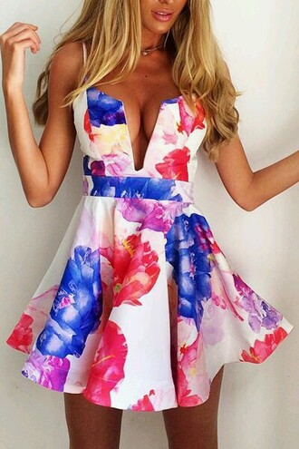 dress white colourful floral floral dress
