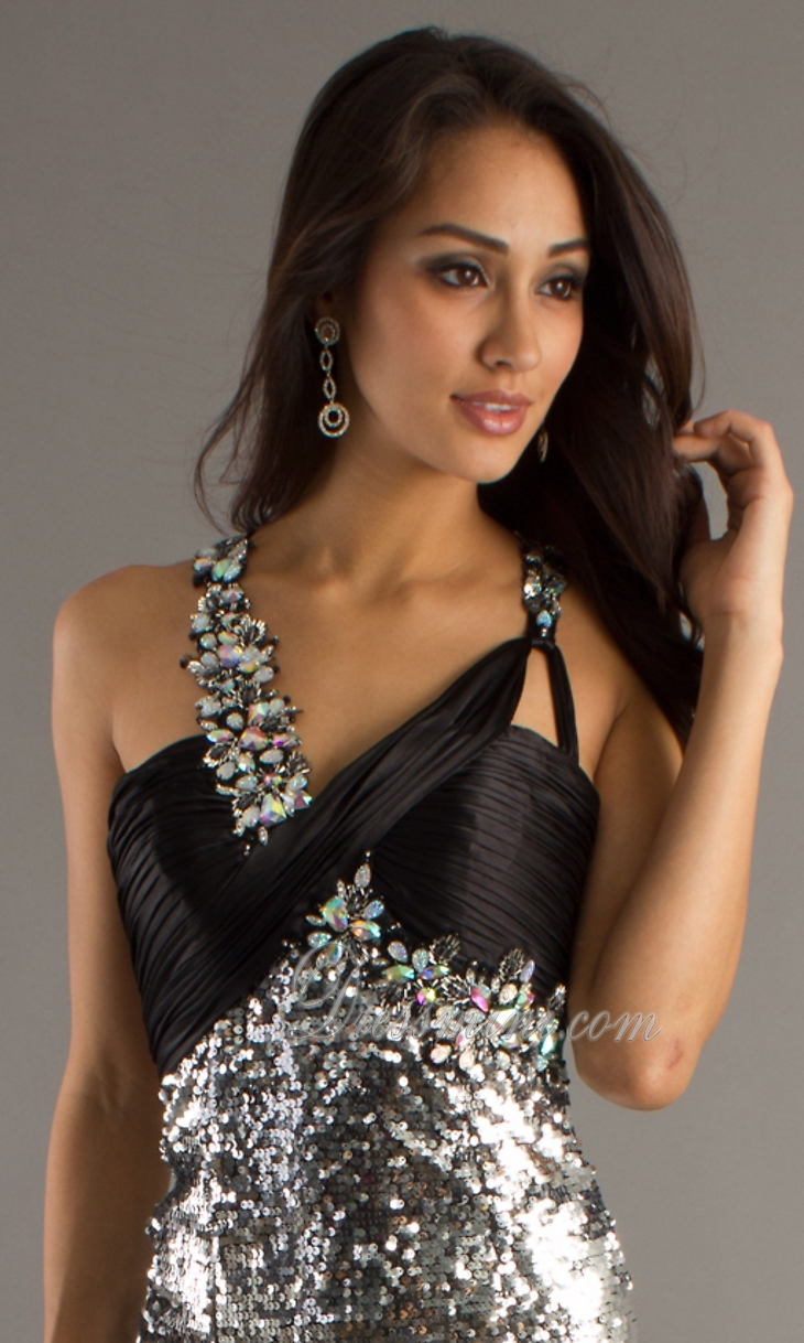 Silver Long/Floor-length Sweep/Brush Train Sparkly Backless Prom Dress PD2C99 at Dressmini.com