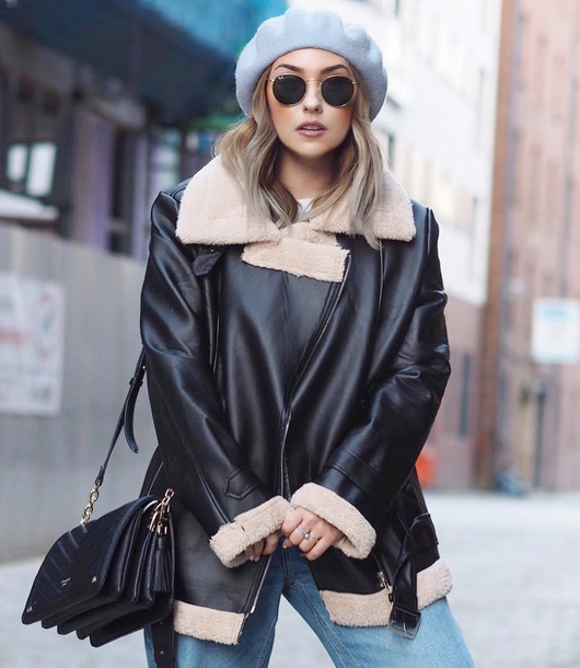 jacket tumblr black jacket black leather jacket leather jacket shearling jacket black shearling jacket