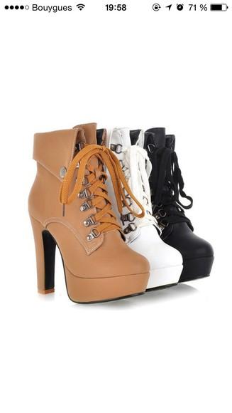 high heels black cute high heels boots brown white timberlands