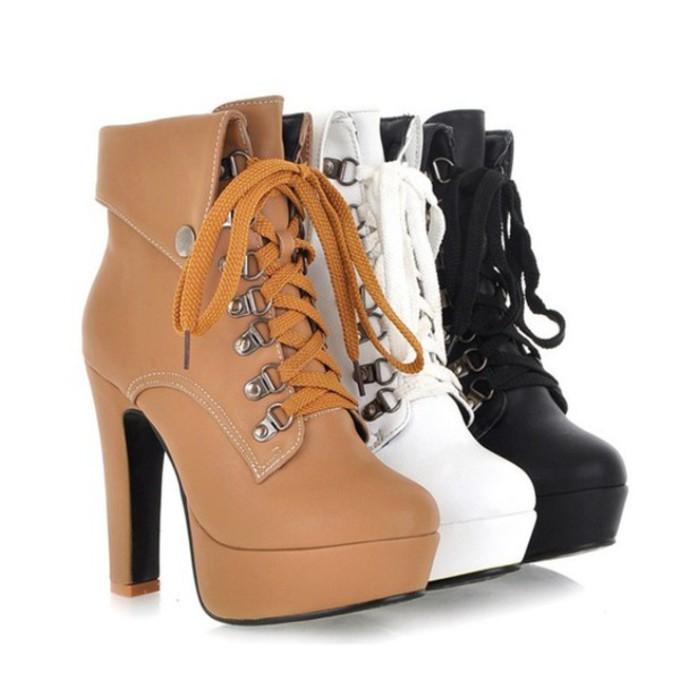 high heels boots timberlands black white high heels