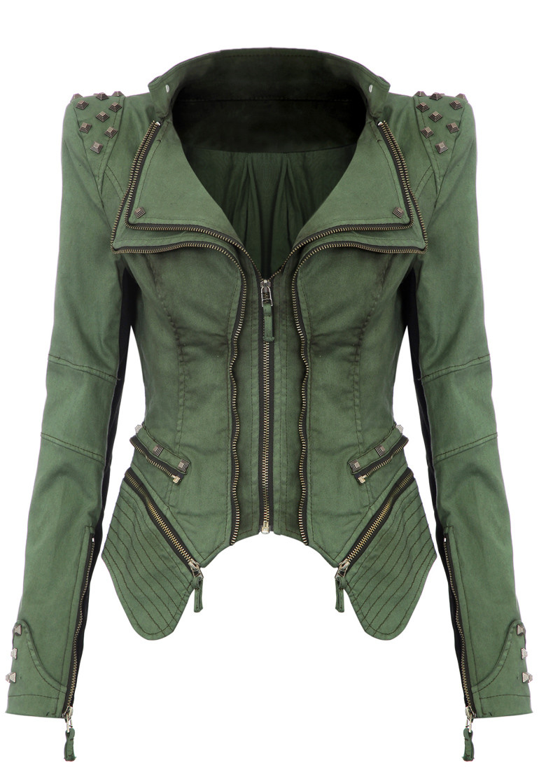 Studded Shoulder Denim Blazer - Green - Lookbook Store