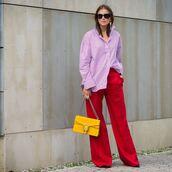 oversized,stripes,striped shirt,wide-leg pants,high waisted,earrings,sunglasses,bag