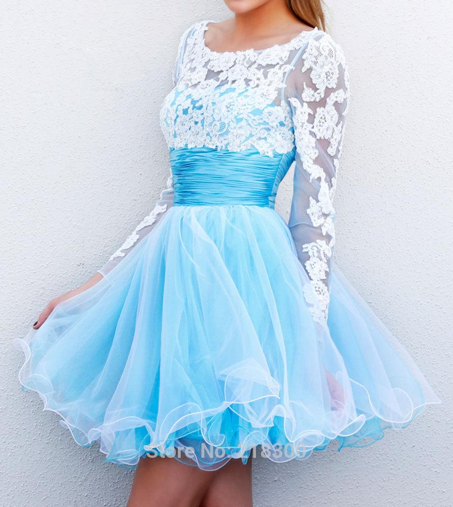 com : Buy Long Sleeves Backless Short Prom Dress 2015 Blue White ...