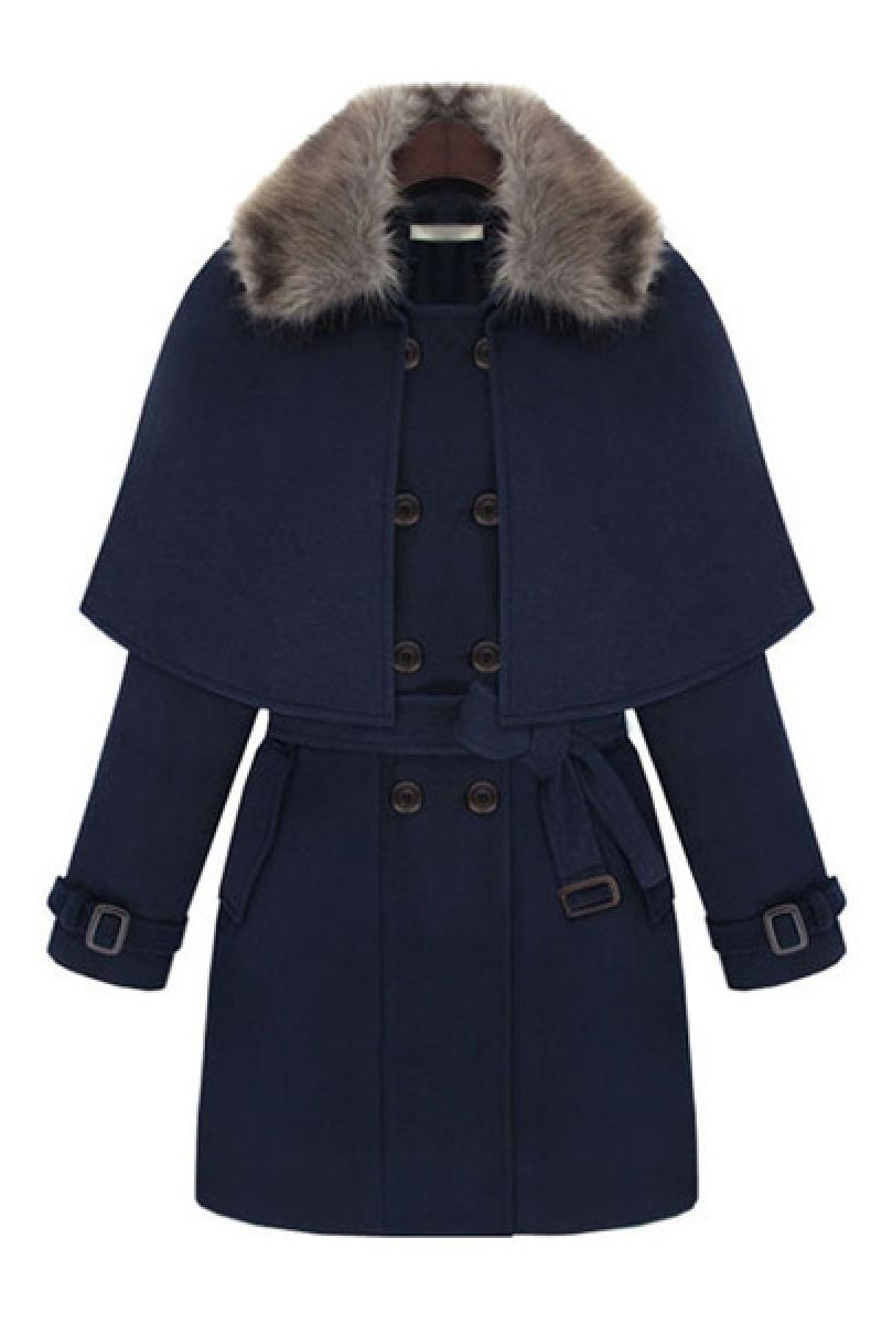 Winter New Fashion Fur Collar Cloak Woolen Overcoat with Belt,Cheap in Wendybox.com