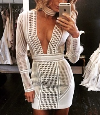 white dress plunge v neck v neck dress mesh dress long sleeve dress