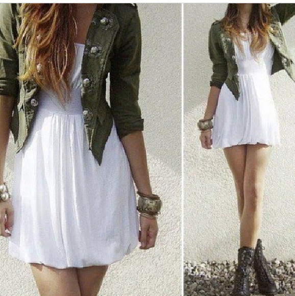 jacket green jacket dress white dress jeans jacket