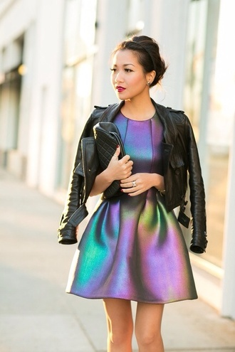 dress black rainbow little black dress neon dress fullcolor holographic jacket metallic skater dress chameleon dress blogger colorfull dress new year's eve purple green short beautiful design multicolor colorful dress cynthia rowley neoprene iridescent mini dress