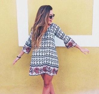 dress pattern black white pink boho long sleeves long sleeve dress patterned dress jeans