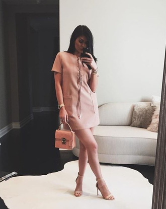 dress sandals kylie jenner instagram mini dress purse nude sandals lace up blush pink nude dress pockets