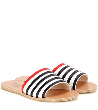 sandals leather sandals stripes leather white shoes