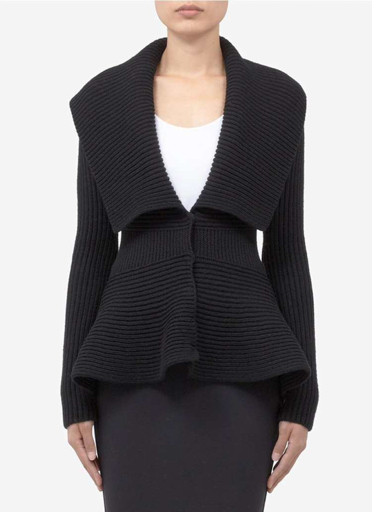 Rib Knit Peplum Cardigan MY001$99