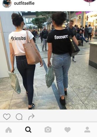 t-shirt black white white tee black t-shirt friend forever friends forever friends t-shirt best friends t shirt