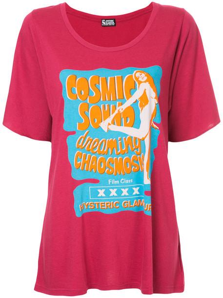 Hysteric Glamour - oversized printed T-shirt - women - Cotton/Rayon - One Size, Pink/Purple, Cotton/Rayon