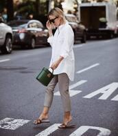 bag,handbag,leather bag,cropped pants,white shirt,slide shoes,black sunglasses