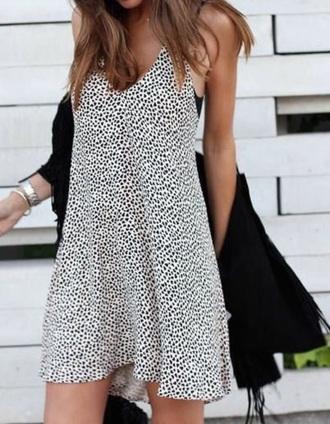 dress polka dots black and white cami dress sundress