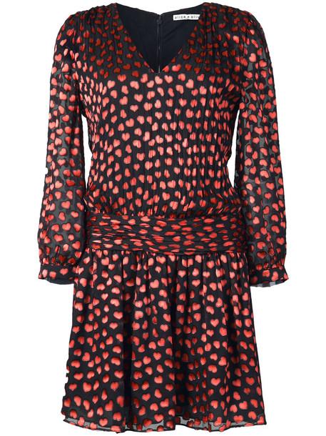 Alice+Olivia dress print dress heart mini women spandex print black silk