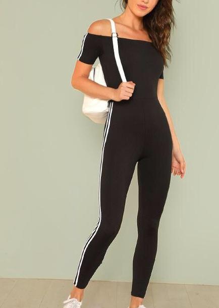 jumpsuit girly black black jumpsuit white striped top off the shoulder