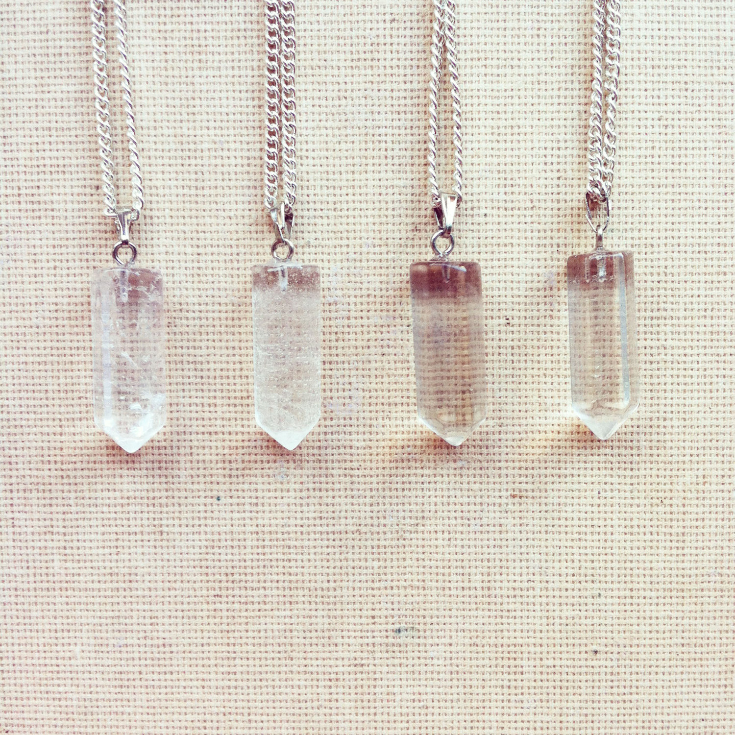 Clear Crystal Necklace- Birthstone Necklace Point Necklace Crystal Gemstone Necklace Hexagon Necklace Gemstone Pendant Rock FREE SHIPPING