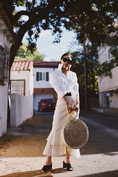 hallie daily blogger shirt skirt bag shoes jewels sunglasses fall outfits round bag basket bag raffia bag midi skirt