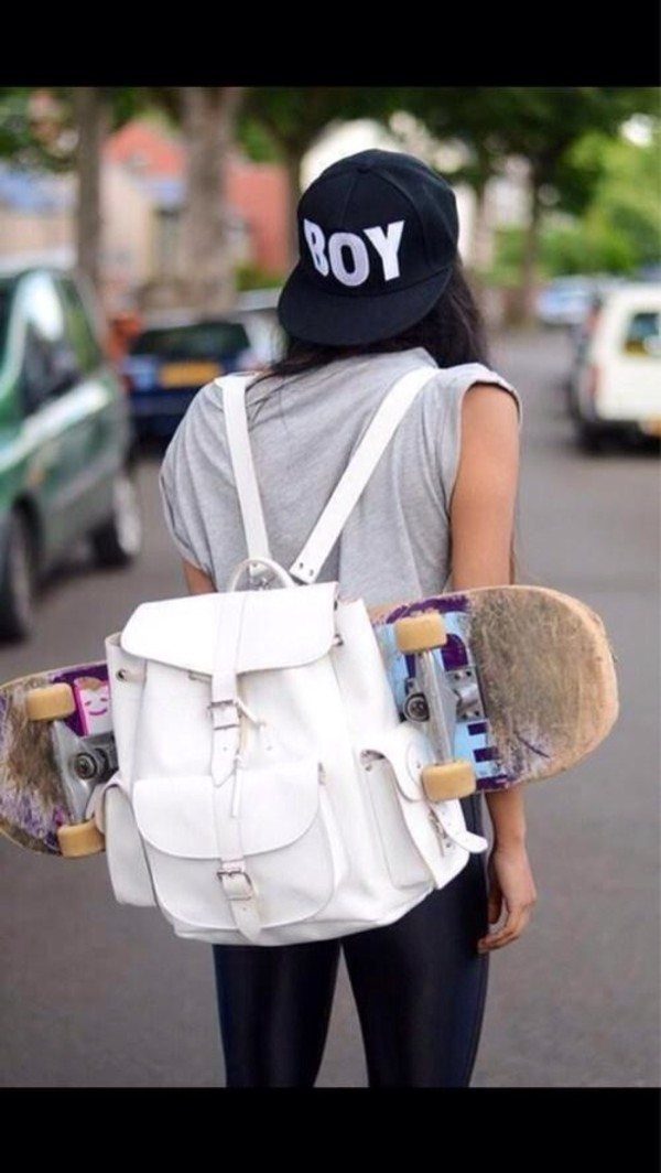 bag white backpack swag swag skater leather backpack