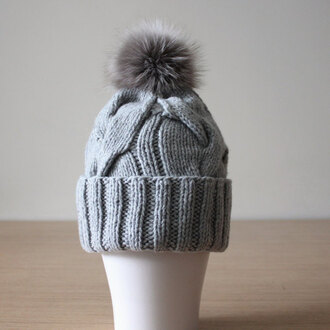 hat fox fur fur pom pom fur pom pom hat winter hat grey knit hat cashmer hat cashmere beanie grey hat