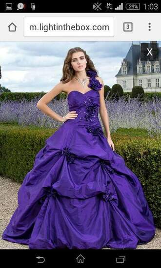 dress indigo flowers purple prom dress prom gown prom purple one-shoulder dresses