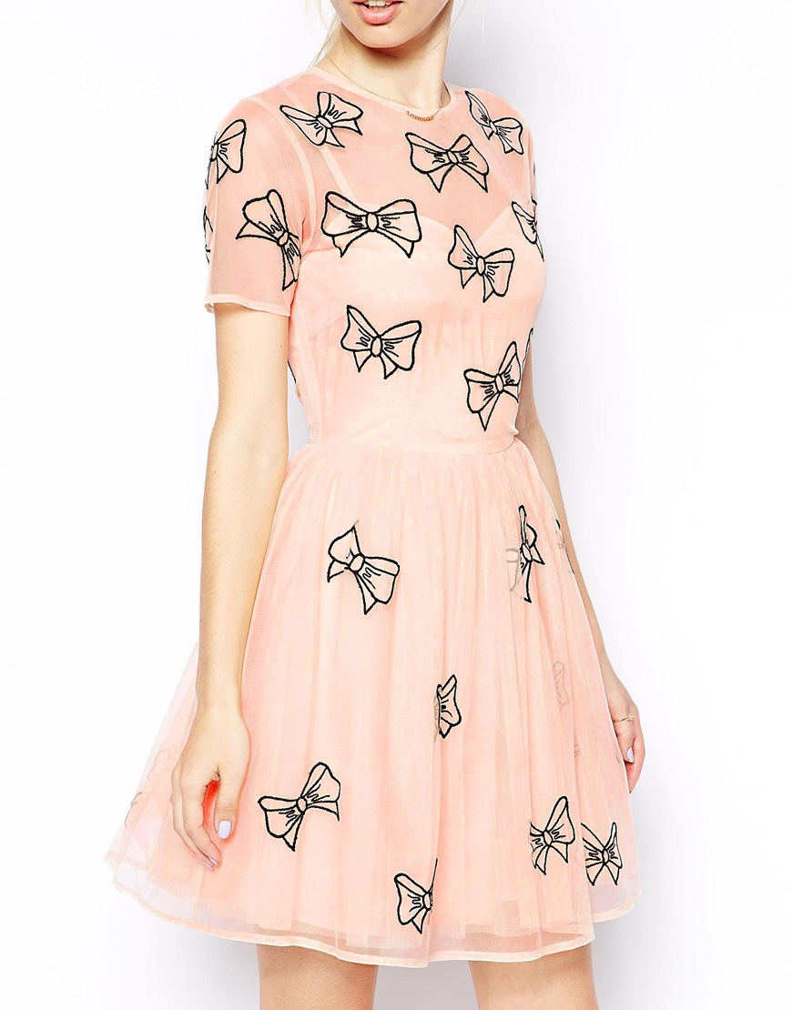 ASOS Skater Dress With Bow Embroidery at asos.com