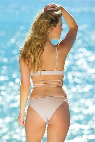 swimwear bikini wrap style bikini top strappy bottoms elizabeth jane rose dust ruched back bikiniluxe