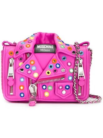 embroidered women bag shoulder bag leather purple pink