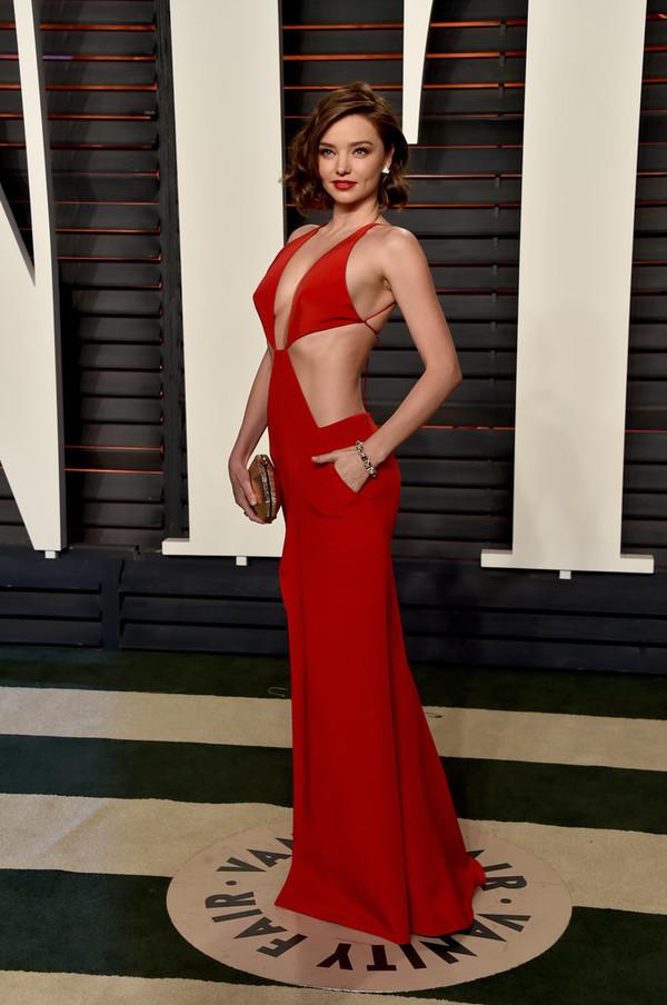 red dress, miranda kerr, cut-out dress, oscars 2016, long prom dress ...