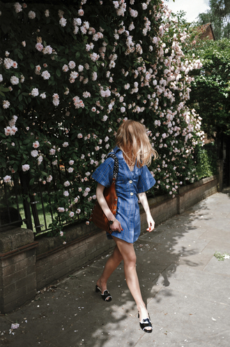dress tumblr button up blue dress mini dress shoes black shoes bag brown bag