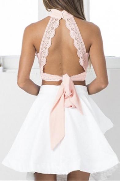 Women's Trendy Keyhole Front Bow Tie Back Crop Top