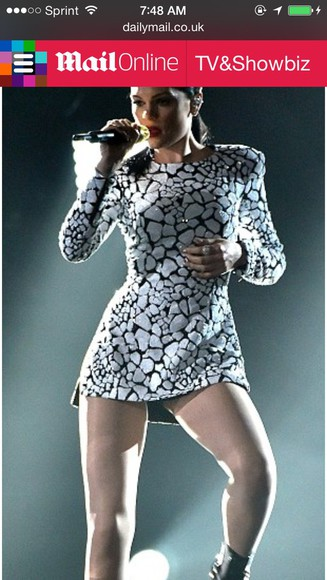 jessie j halston mini dress. black and white t