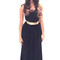 Maggie in black halter evening dress with gold belt (8500)                           | elliot claire london