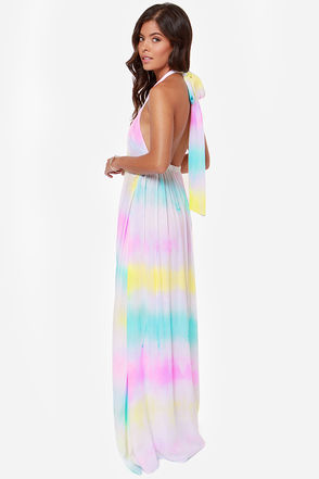 Pretty Tie-Dye Dress - Maxi Dress - Halter Dress - $65.00