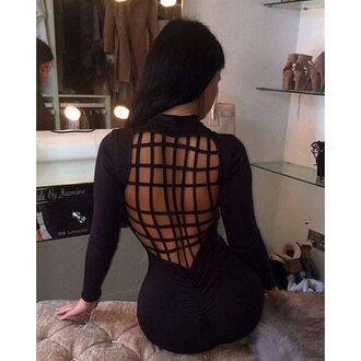 dress mischievous socialite black bodycon sexy cut-out caged long sleeves mock neck