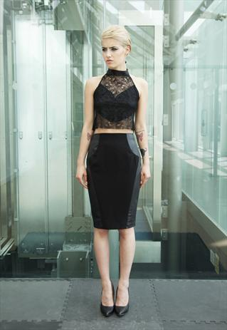 Black Panelled PU Leather Look Pencil Skirt | Yan Neo London Boutique | ASOS Marketplace