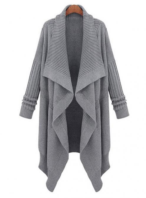 Gray Long Casual Shawl Cardigan Sweater $69