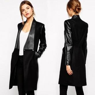 long coat pu sleeve patchwork wool jacket trench coat slim women clothes black outerwear winter dress winter coat coat