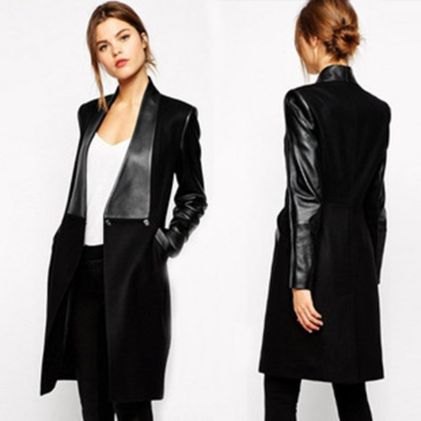 long coat pu sleeve patchwork wool jacket trench coat slim women clothes black outerwear winter dress