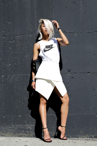 the haute pursuit jewels t-shirt skirt shoes bag crop crop tops a line skirt white skirt long skirt watch chic tomboy sophisticated