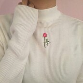 sweater,rose,roses,embroidered,cotton,white,sweet,classy,classic,flowers,pink,turtleneck,turtleneck sweater,trendy,boho,boho chic,bohemian,high neck,long sleeves