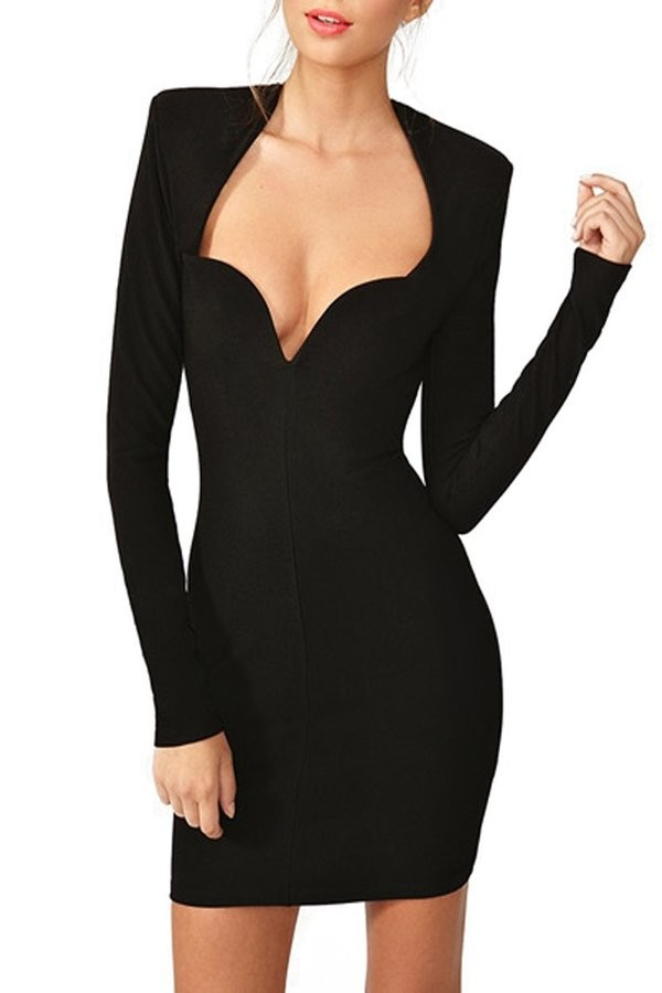 Johanna deep neck bandage dress