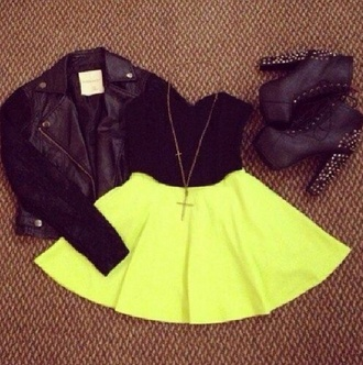 skirt jacket shoes neon neon skirt zendaya short skirts style