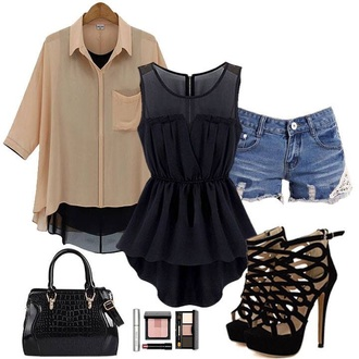 shorts summer style whole outfit.. high heels