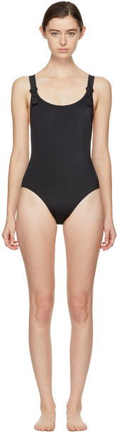 Solid and Striped Black the Lucy Swimsuit